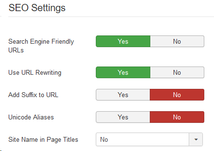 Joomla SEF Settings